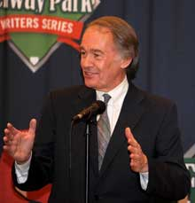 Congressman Ed Markey at the Bob Ryan Tribute dinner at the Hotel Commonwealth. The Congressman and Bob have been friends since their student days at BC.