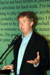 """Reversing the Curse"" author and Boston Globe sports columnist Dan Shaughnessy, who spoke at the inaugural luncheon of The Great Fenway Park Writers Series."
