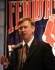 Denver Mayor Hickenlooper introduces Senator Bradley at the June luncheon at Fenway.