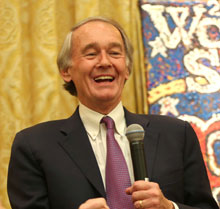 U.S. Senator Ed Markey, a Red Sox fan at birth, was in high spirits.