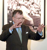 "General Bernard Trainor, co-author with Michael Gordon of ""Cobra II"", considered by many the definitive account of the Bush Administration's decision to invade Iraq, speaks at the first luncheon of the 2006 Great Fenway Park Writers Series, April 13, in the Crown Royal Room."