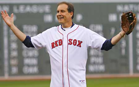 Jim Nantz, who was all-state in high school baseball, reacting to a First Pitch strike before the Red Sox/Yankees game at Fenway.
