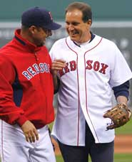 Jim Nantz of CBS Sports, who spoke to the Writers Series June 11, on the field at Fenway before the game with his pal, Tim Wakefield.