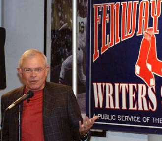 Red Sox radio play-by-play announcer Joe Castiglione discusses his book on the life of a sports broadcaster at the June writers series event.