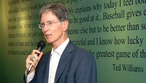 "John Henry, the principal owner of the Boston Red Sox, is seen at the second of the '05 Great Fenway Park Writers Series luncheon introducing Tony Massarotti of the Boston Herald and John Harper of the New York Daily News, who co-wrote ""Tale of Two Cities: The 2004 Yankees-Red Sox Rivalry and the War for the Pennant""; a book Mr. Henry much admired."
