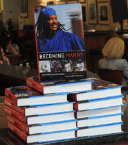 Dr. Jean Rhodes' book on Manny Ramirez was featured at Fenway the day she spoke to the Writers Series.