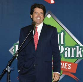 "Mark Shriver at The Writers Series September luncheon at Fenway discussing his book about his father, Sargent Shriver, ""A Good Man."""