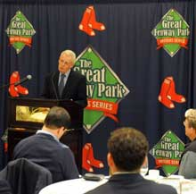 "Hall of Fame sports writer Peter Gammons at the Writers Series last November. When so many people wanted to hear Mr. Gammons speak, he graciously volunteered to do a second night on the ""Best Sports Writing of 2010."""