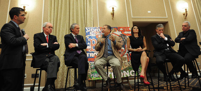 The Red Sox & Redemption was The Writers Series theme at the November 15 dinner at the Hotel Commonwealth. Panelists included, from left to right, Dick Flavin, Senator Ed Markey, Red Sox VP Dr. Charles Steinberg, NESN's Jenny Dell, the Herald's Steve Buckley and the Globe's Kevin Cullen, with Patriots play-by-play announcer Bob Socci, on the left, as moderator.