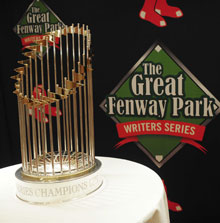 2013 World Series Trophy at the Red Sox & Redemption dinner.