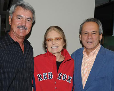 Red Sox Hall of Famer Dwight Evans and team President & CEO Larry Lucchino at Fenway with Gloria Steinem, who spoke June 4, and received a Standing O from those assembled at the State Street Pavilion.