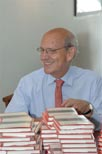 United States Supreme Court Associate Justice Stephen Breyer at his book signing before speaking to the writers series July 18.