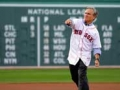Bill Keller throws out a First Pitch at Fenway. (Photo by Brooks Canaday, Boston Red Sox.)