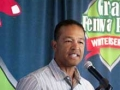 Dave Roberts introduces Jane Mitchell at the June 21 Writers Series event at Fenway Park.