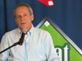 Red Sox President & CEO Larrry Lucchino brings greetings at the Jane Mitchell event.